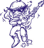 Kreskówki gitary gracza muzyczny kontur Zdjęcia Stock