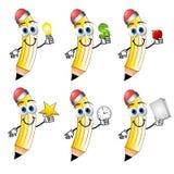 kreskówki gospodarstwa ołówki przedmiotów, Obrazy Royalty Free