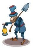 Kreskówki Gravedigger trzyma lampę i łopatę ilustracji