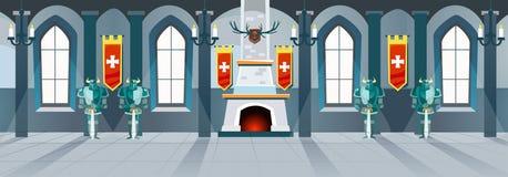 Kreskówki grodowa sala z rycerzami, grabą i okno w dużym r, ilustracja wektor