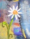Kreskówki grunge chamomile kwiat Ręka rysująca lato karta Zdjęcie Royalty Free
