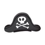 Kreskówki grunge stylowego klasycznego pirata rzemienny kapelusz z czaszką i kościami odizolowywał wektorową ilustrację na bielu Zdjęcia Royalty Free