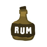 Kreskówki grunge stylowego pirata rumowa butelka odizolowywał wektorową ilustrację na bielu Fotografia Royalty Free