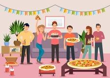 Kreskówki grupa rozochoceni ludzie je pizzę ilustracja wektor