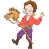 Kreskówki gypsy chłopiec jazdy zabawki koń ilustracja wektor