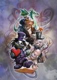 Kreskówki Halloween ilustracja mistyczny surrealistyczny enigmatyczny krajobraz royalty ilustracja
