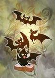 Kreskówki Halloween ilustracja mistyczny surrealistyczny enigmatyczny krajobraz ilustracji
