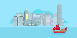 Kreskówki Hongkong miasto Zdjęcia Royalty Free