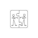 Kreskówki ikona nakreślenie kija postacie w ślicznych miniaturowych scenach ilustracji