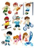 kreskówki ikony gracza ustalony sport ilustracji