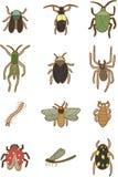 kreskówki ikony insekty Obrazy Royalty Free