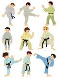 kreskówki ikony karate gracz ilustracja wektor