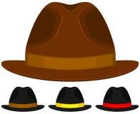 Kreskówki ikony mężczyzna ojca tata dnia plakatowej kapeluszowej nakrętki kolorowy set Zdjęcia Royalty Free