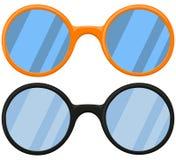 Kreskówki ikony plakatowi szkła, widowiska czernią pomarańcze set Zdjęcie Royalty Free