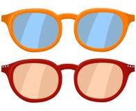 Kreskówki ikony plakatowi szkła, widowisko pomarańcze czerwony set Obraz Stock