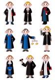 kreskówki ikony sędziego set Zdjęcia Royalty Free