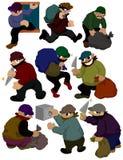 kreskówki ikony złodziej Obrazy Royalty Free