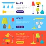 Kreskówki iluminaci Domowego Lampowego sztandaru Horyzontalny set wektor Obrazy Stock
