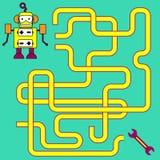 Kreskówki ilustracja ścieżki lub labirynt łamigłówki aktywności gra Dzieciaki uczy się gry inkasowe Obraz Stock
