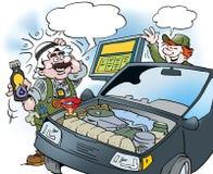 Kreskówki ilustracja arab który bada nowy typ olej na samochodzie Obraz Royalty Free