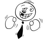 Kreskówki ilustracja Biznesowego mężczyzna głowa z Bokserskimi rękawiczkami Zdjęcia Stock