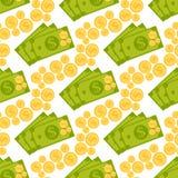 Kreskówki ilustracja dolarowego waluta symbolu wektoru wzoru banka finanse pieniądze biznesowy bezszwowy tło royalty ilustracja