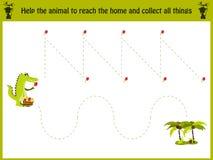 Kreskówki ilustracja edukacja Dopasowywanie gra dla preschool dzieciaków tropi ścieżkę krokodyl w dżungli i zbiera wszystko royalty ilustracja