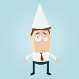 Biznesmen w dunce nakrętce royalty ilustracja
