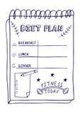 Kreskówki ilustracja odżywianie plan Ręka rysujący dieta plan w doodle stylu dla śniadania, lunchu i gościa restauracji, Zd fotografia royalty free