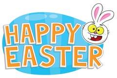 Szczęśliwy Wielkanocny tekst z Wielkanocnym królikiem i błękitnym jajkiem Obrazy Royalty Free