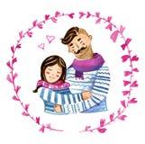 Kreskówki ilustracja z potomstwo parą w ramie ilustracji