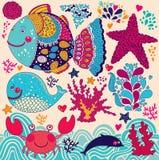 Kreskówki ilustracja z wielorybem Zdjęcia Stock