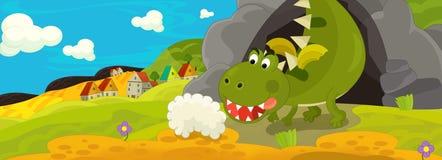 Kreskówki ilustracja - zielony smok Zdjęcia Royalty Free