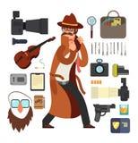Kreskówki inwigilaci detektywi z wyposażenia wektorowym ustawiającym dla dochodzenia pojęcia ilustracji