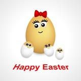 Kreskówki jajeczna dziewczyna i mali jajka Obraz Royalty Free