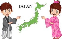 Kreskówki Japońska para jest ubranym tradycyjnego kostium ilustracji