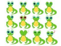Kreskówki jaszczurka w różnych ogólnospołecznych emocjach ilustracji