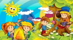 Kreskówki jesieni natury tło w górach z dzieciakami ma zabawę z przestrzenią dla teksta ilustracja wektor