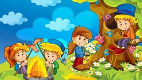 Kreskówki jesieni natury tło w górach z dzieciakami ma zabawę z przestrzenią dla teksta ilustracji