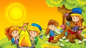 Kreskówki jesieni natury tło z dzieciakami ma zabawę z camping przestrzenią dla teksta royalty ilustracja