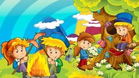 Kreskówki jesieni natury tło z dzieciakami ma zabawę z camping przestrzenią dla teksta ilustracja wektor
