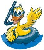 Kreskówki kaczka z Snorkel Maskową i Wewnętrzną tubką obrazy royalty free