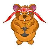 Kreskówki kamikadze chomikowa bomba w rękach Zdjęcie Royalty Free