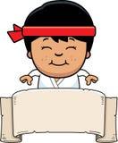 Kreskówki Karate Kid sztandar royalty ilustracja