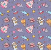 Kreskówki kawaii kosmosu bezszwowy wzór royalty ilustracja