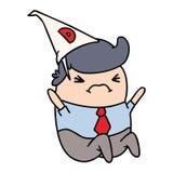 kresk?wki kawaii m??czyzna w dunce kapeluszu ilustracji