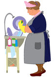 Kreskówki kobieta w żółtych rękawiczkach robi naczyniom Zdjęcia Stock
