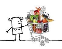 Kreskówki kobieta z Pełnym wózkiem na zakupy ilustracja wektor
