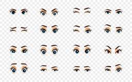 Kreskówki kobiety oczy Barwioni wektorowi zbliżeń oczy Żeński kobiet brwi i oczu wizerunku kolekci set Emocj oczy Zdjęcie Royalty Free