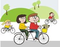 kreskówki kolarstwa rodzina szczęśliwa Zdjęcie Stock